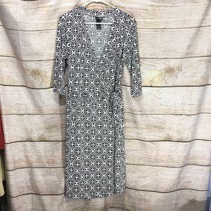 BisouBisou Michele Bohbot size 14 wrap dress black